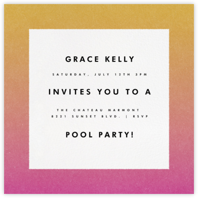 Gradient Border - Pink - Paperless Post - Pool Party Invitations