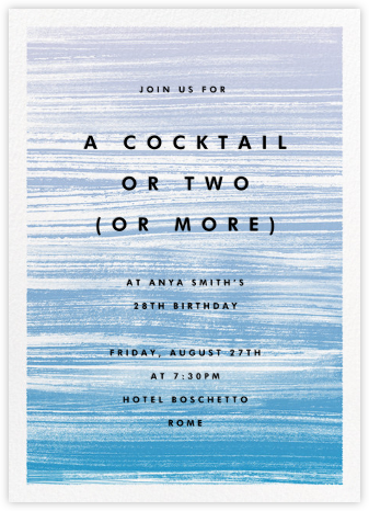Gradient Messy Strokes - Blue - Paperless Post - Adult Birthday Invitations