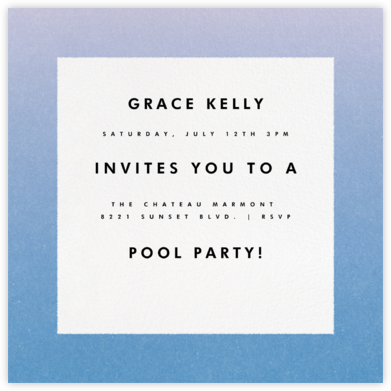 Gradient Border - Blue - Paperless Post - Pool Party Invitations