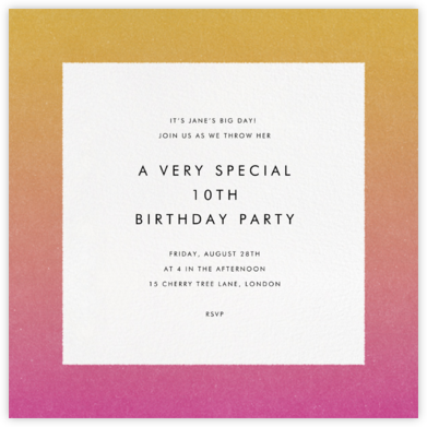 Gradient Border - Pink - Paperless Post - Kids' birthday invitations
