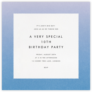 Gradient Border - Blue - Paperless Post - Kids' birthday invitations