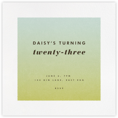 Gradient White Border - Green - Paperless Post - Adult Birthday Invitations