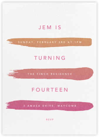 Gradient Brush Strokes - Pink - Paperless Post - Online Kids' Birthday Invitations