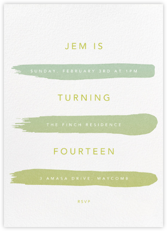 Gradient Brush Strokes - Green - Paperless Post - Kids' Birthday Invitations
