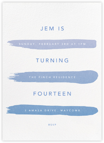Gradient Brush Strokes - Blue - Paperless Post - Online Kids' Birthday Invitations