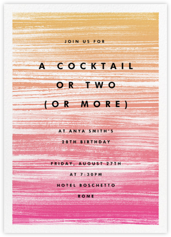 Gradient Messy Strokes - Pink - Paperless Post - Adult Birthday Invitations