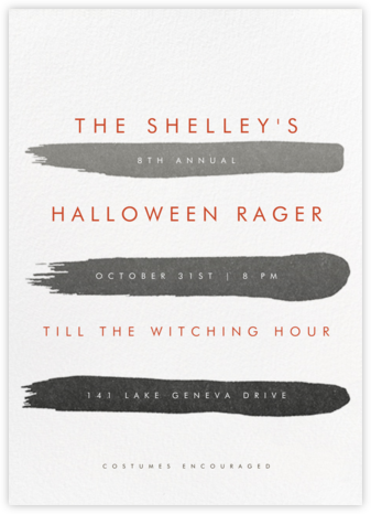 Gradient Brush Strokes - Black - Paperless Post - Halloween invitations