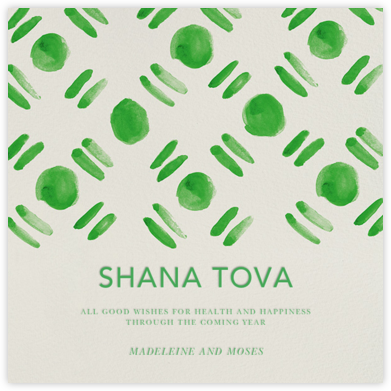 Dot and Dash - Green - Oscar de la Renta - Rosh Hashanah Cards