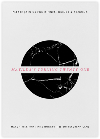 Marble Split Circle - Black - Paperless Post - Invitations
