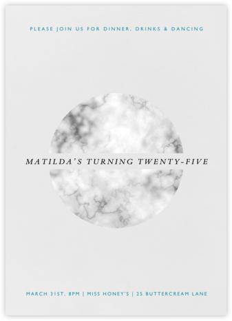 Marble Split Circle - White - Paperless Post - Adult Birthday Invitations