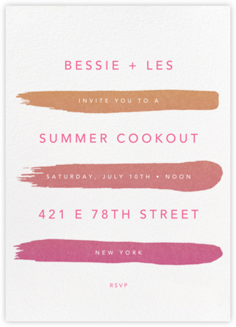 Gradient Brush Strokes - Pink - Paperless Post - Summer entertaining invitations