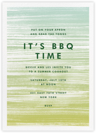 Gradient Messy Strokes - Green - Paperless Post - Summer Party Invitations