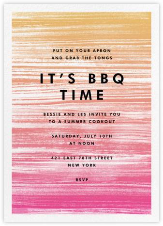 Gradient Messy Strokes - Pink - Paperless Post - Barbecue and picnic invitations