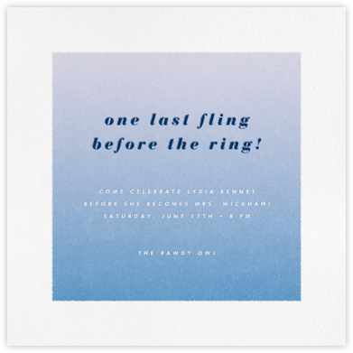 Gradient White Border - Blue - Paperless Post - Bachelorette party invitations