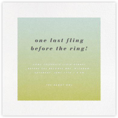 Gradient White Border - Green - Paperless Post - Bachelorette party invitations