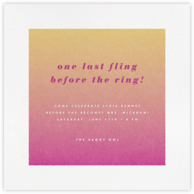Gradient White Border - Pink - Paperless Post - Bachelorette party invitations