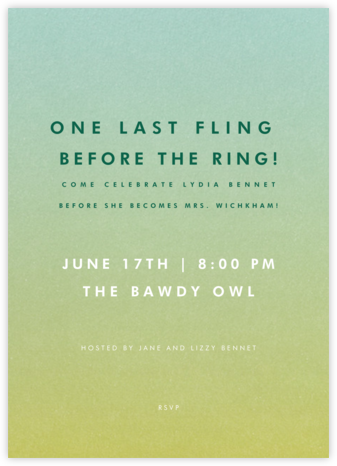 Gradient Full - Green - Paperless Post - Bachelorette party invitations