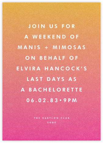 Gradient Full (Tall) - Pink - Paperless Post - Bachelorette Party Invitations
