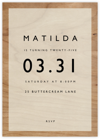 Wood Grain Color Block - White - Paperless Post - Adult Birthday Invitations