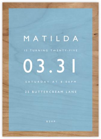 Wood Grain Color Block - Blue - Paperless Post - Adult birthday invitations
