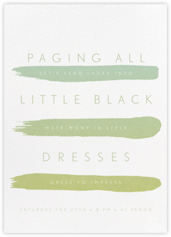 Gradient Brush Strokes - Green - Paperless Post - Bachelorette party invitations