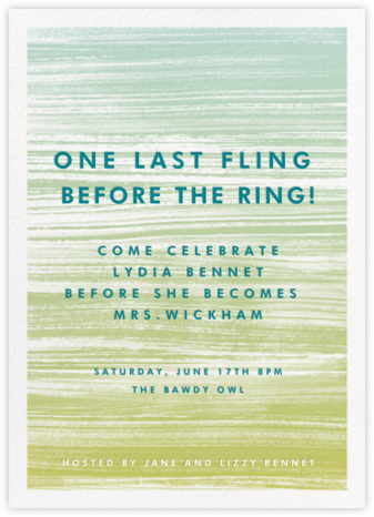 Gradient Messy Strokes - Green - Paperless Post - Bachelorette party invitations