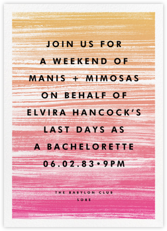 Gradient Messy Strokes - Pink - Paperless Post - Bachelorette party invitations