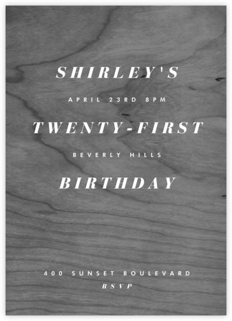 Wood Stain - Black - Paperless Post - Adult Birthday Invitations