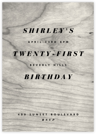 Wood Stain - White - Paperless Post - Adult Birthday Invitations