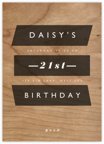 Wood Grain Color Slabs - Black - Paperless Post - Adult Birthday Invitations