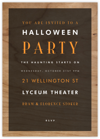 Wood Grain Color Block - Black - Paperless Post - Halloween invitations