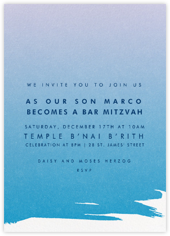 Gradient Painted - Blue - Paperless Post - Bar and Bat Mitzvah Invitations