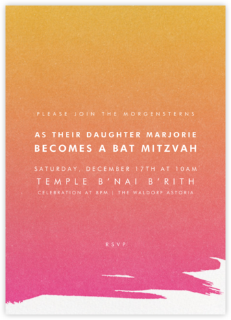 Gradient Painted - Pink - Paperless Post - Bat and Bar Mitzvah Invitations