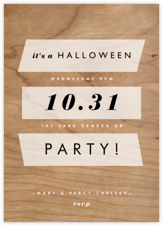 Wood Grain Color Slabs - White - Paperless Post - Halloween invitations