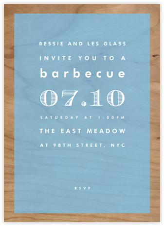 Wood Grain Color Block - Blue - Paperless Post - BBQ Invitations