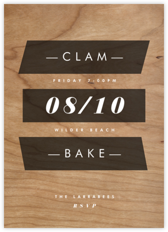 Wood Grain Color Slabs - Black - Paperless Post - Summer entertaining invitations