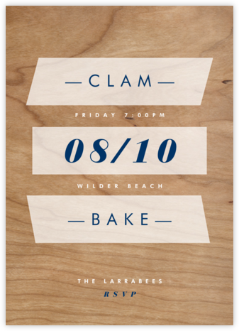 Wood Grain Color Slabs - White - Paperless Post - BBQ Invitations
