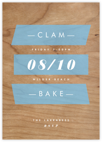 Wood Grain Color Slabs - Blue - Paperless Post - Invitations