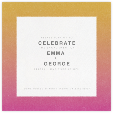 Gradient Border - Pink - Paperless Post - Engagement party invitations