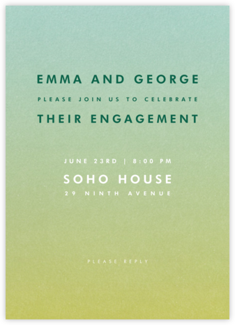 Gradient Full - Green - Paperless Post - Engagement party invitations