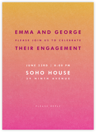 Gradient Full - Pink - Paperless Post - Engagement party invitations