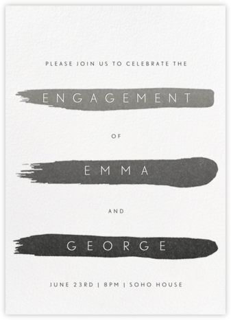 Gradient Brush Strokes - Black - Paperless Post - Engagement party invitations