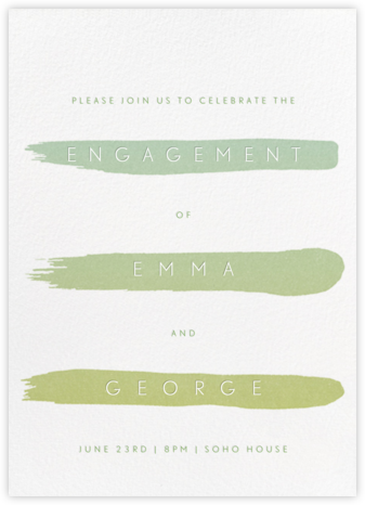 Gradient Brush Strokes - Green - Paperless Post - Engagement party invitations