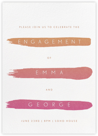 Gradient Brush Strokes - Pink - Paperless Post - Engagement party invitations