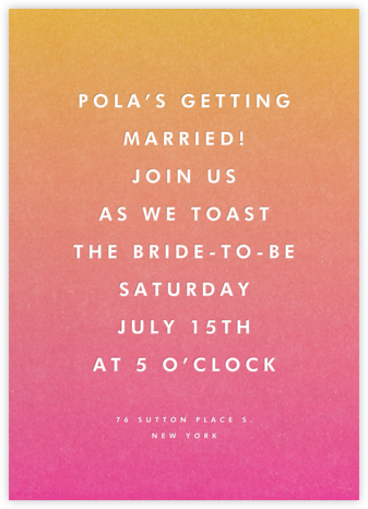 Gradient Full (Tall) - Pink - Paperless Post - Bridal shower invitations