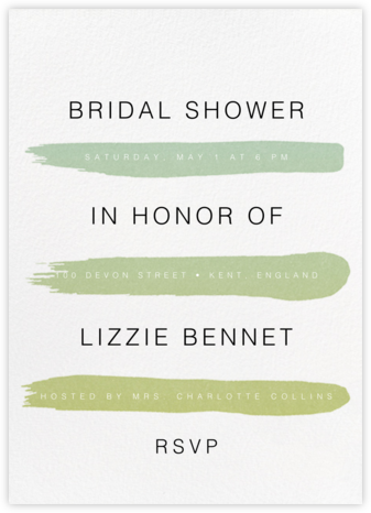 Gradient Brush Strokes - Green - Paperless Post - Bridal shower invitations