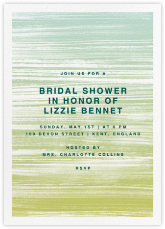 Gradient Messy Strokes - Green - Paperless Post - Bridal shower invitations