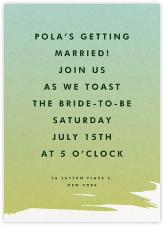 Gradient Painted - Green - Paperless Post - Bridal shower invitations