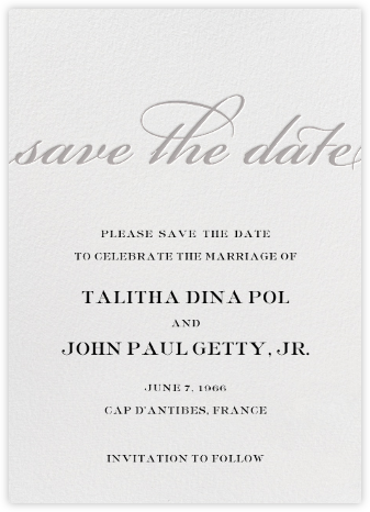 Simple Script (Save the Date) - Gray - Paperless Post - Save the dates