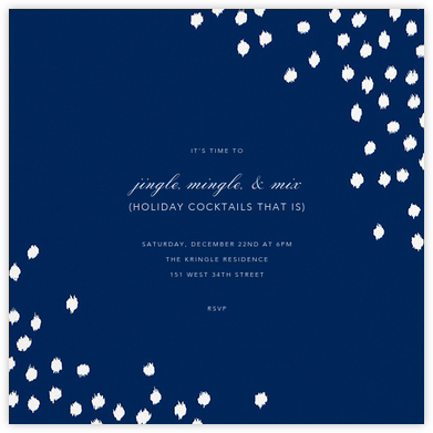 Ikat Dot (Square) - Dark Blue - Oscar de la Renta - Winter Party Invitations